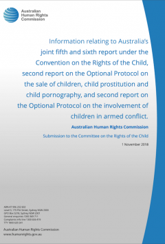 Information relating to Australia's joint fifth and sixth report under the Convention on the Rights of the Child, second report on the Optional Protocol on the sale of children, child prostitution and child pornography, and second report on the Optional Protocol on the involvement of children in armed conflict.