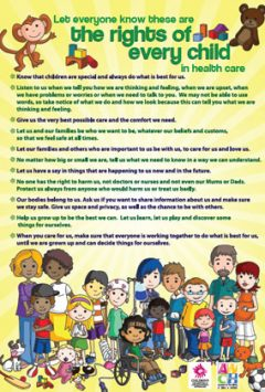 Let everyone know these are the rights of every child in health care poster